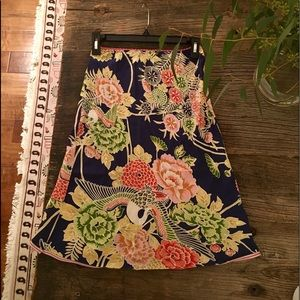 Lux bird and floral print skirt